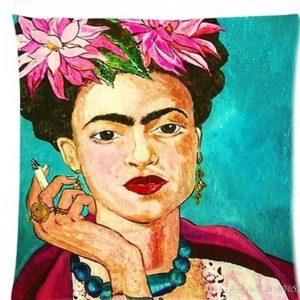 Frida Kahlo Cushion - Smoking