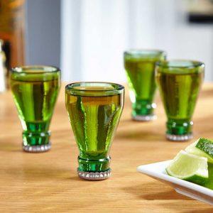 recycled beer bottle shot glasses